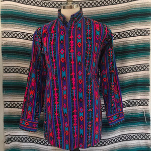 Canyon Trail Button Front Shirt Wild Print Large